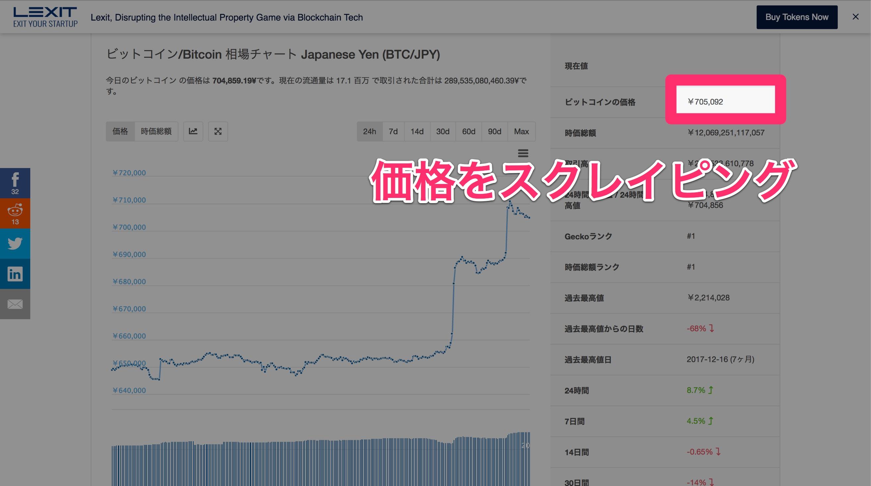 importxmlでビットコイン価格をスクレイピング