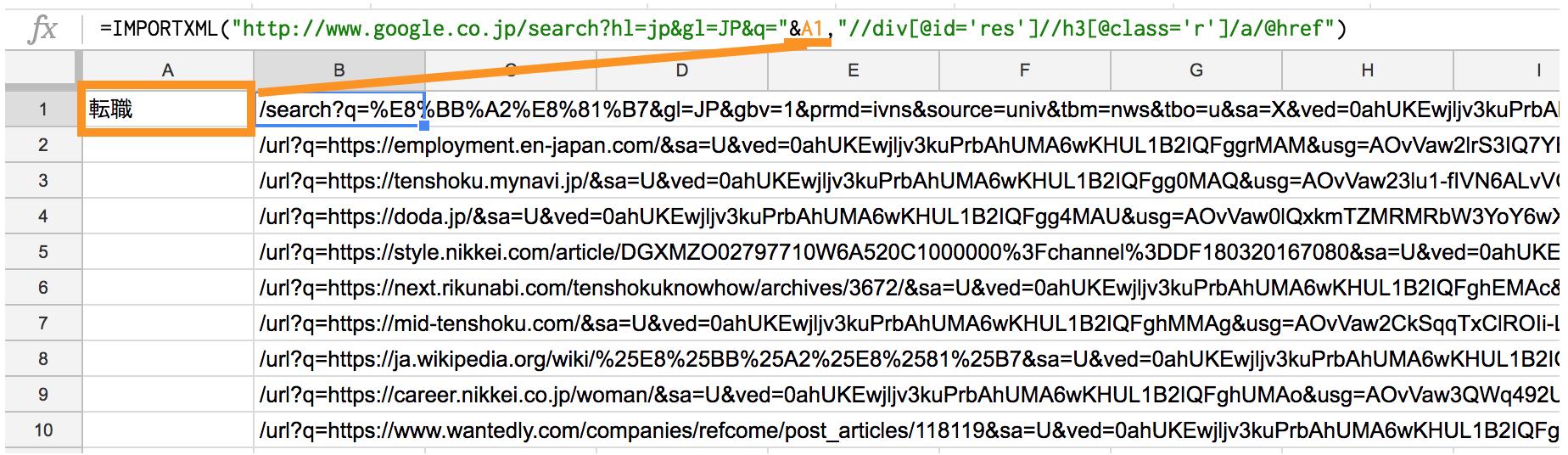 importxmlでGoogle検索結果を取得