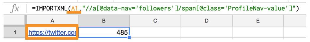 importxml関数でtwitterフォロワー数取得