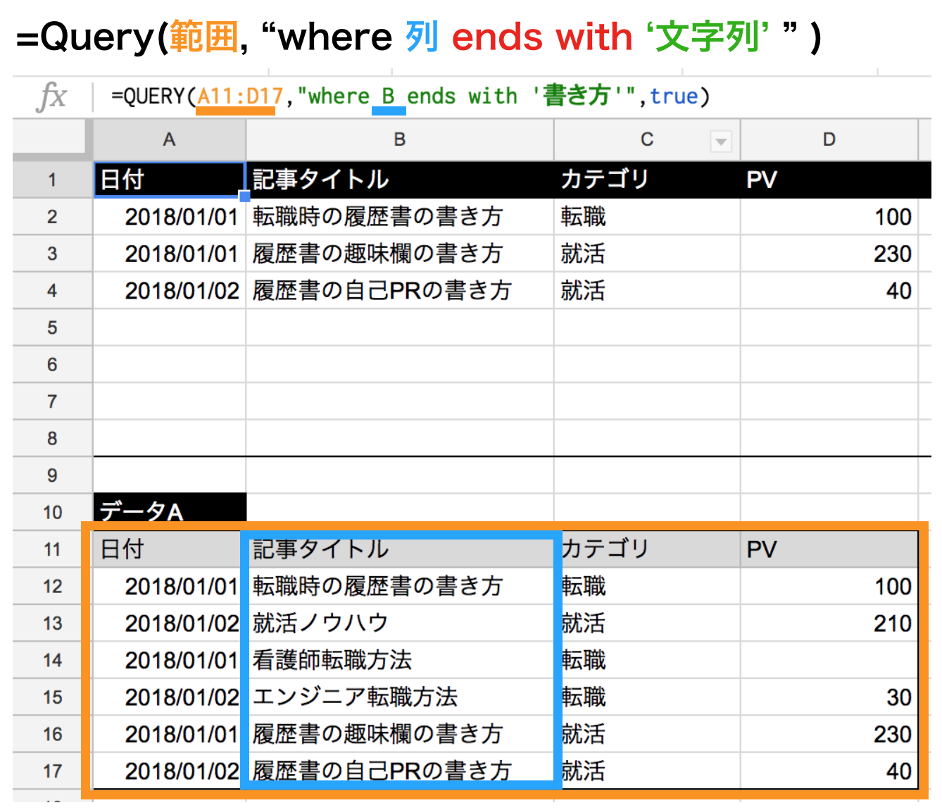 query関数でendswithの使い方