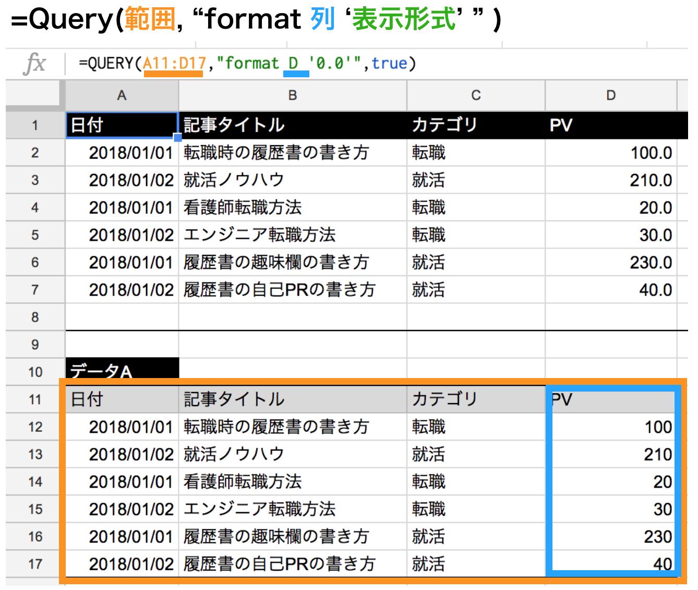 query関数でformatを使って小数点表示にする