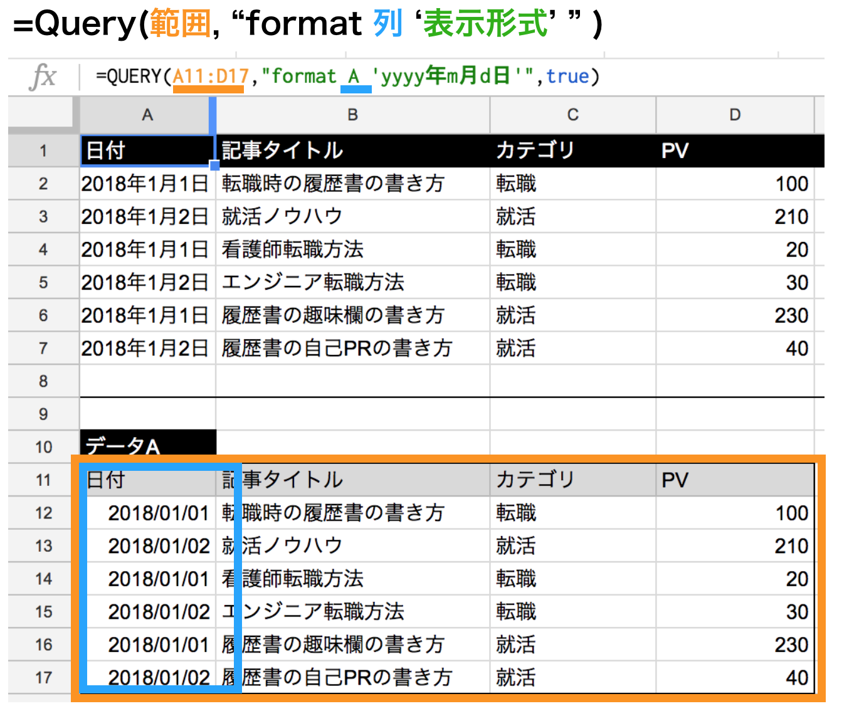 query関数でformatを使って年月日表示形式にする