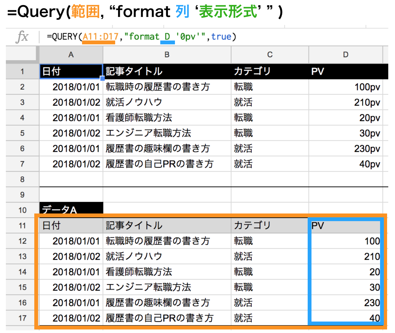 query関数でformatを使って最後に単位を付けた表示にする