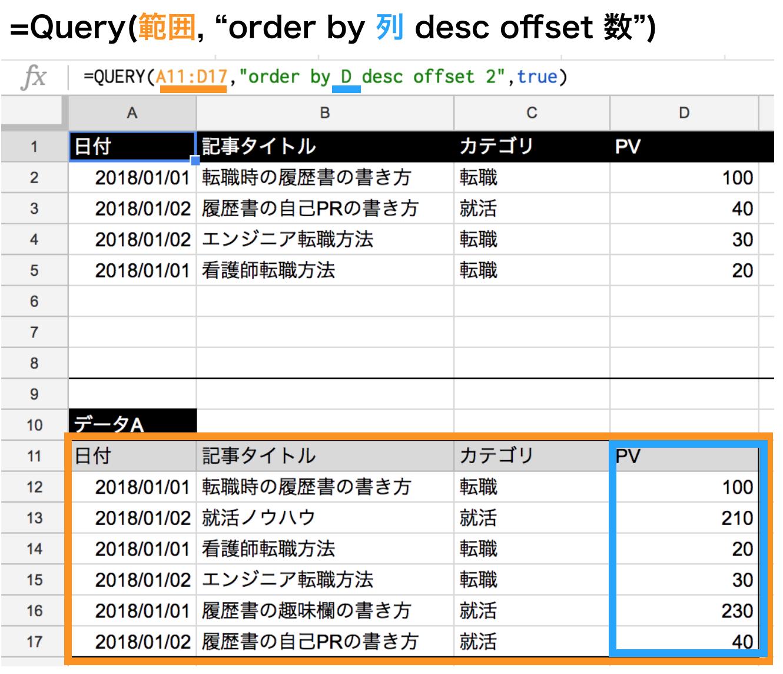 query関数でorderbyで降順にしてoffsetを使ってスキップする