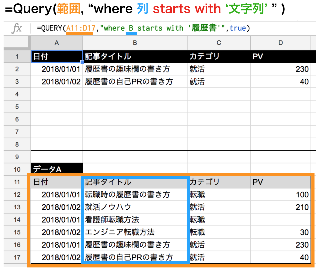 query関数でstartswithの使い方解説図