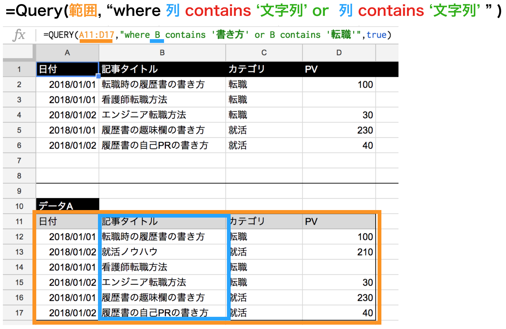 query関数のcontainsで文字列を複数指定条件or
