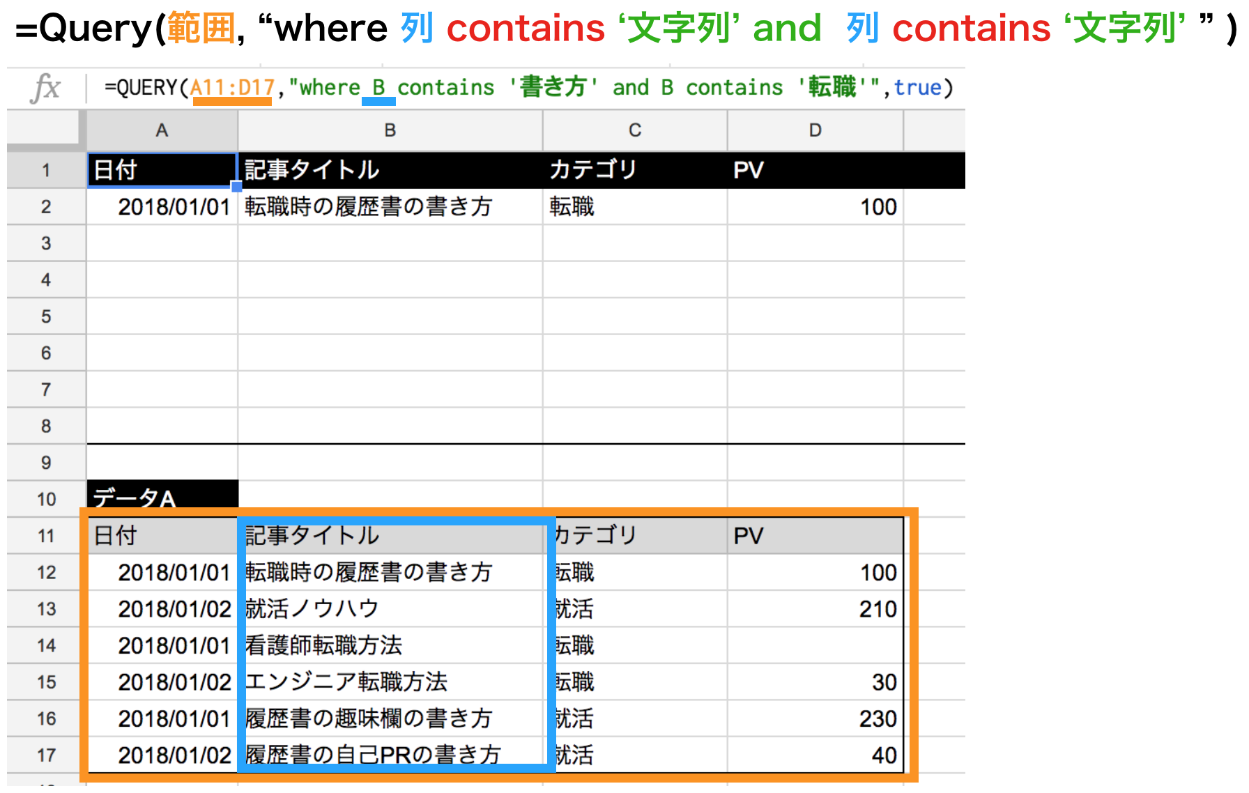 query関数のcontainsで文字列を複数指定