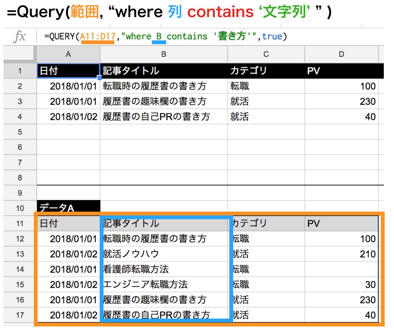 query関数のcontainsで文字列指定