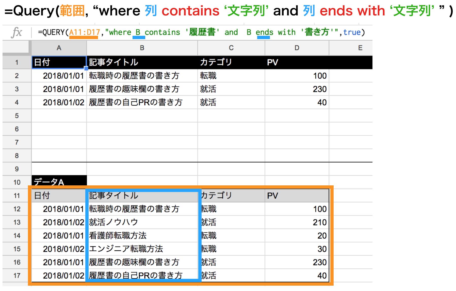 query関数のcontainsとendswithを併用