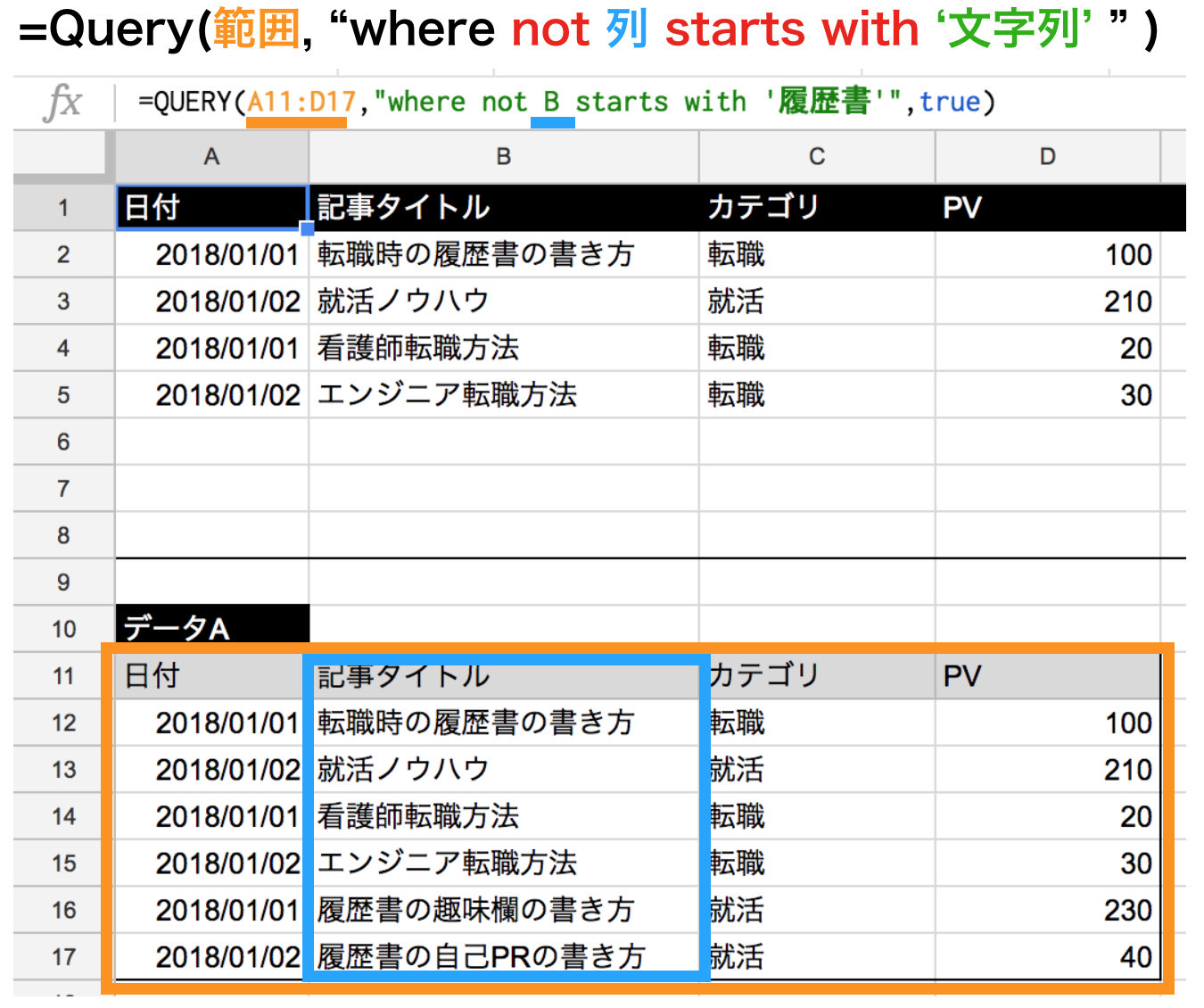 query関数のnot starts withの使い方